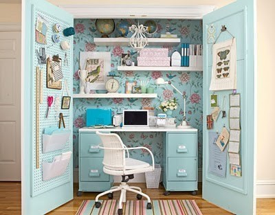 Turn A Cabinet Into A Small Home Office