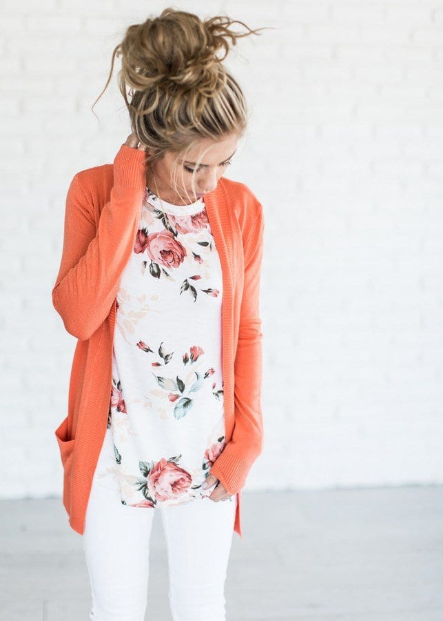 Spring outfit ideas: Floral shirt, cardigan and white denim
