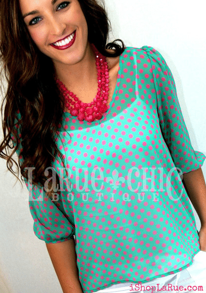mint Julep Polka Dot Top