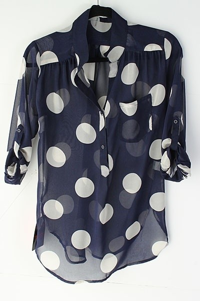 polka Dot Shirt Navy