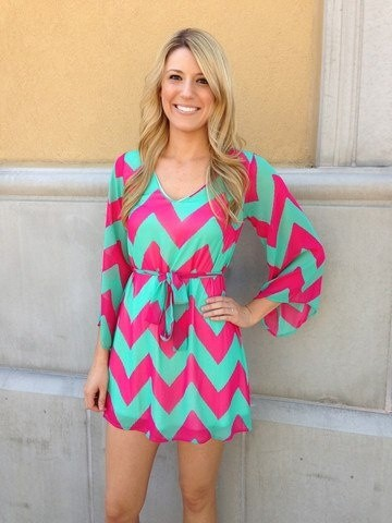 pink and teal chevron dress