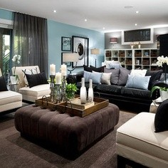 Living Room Decorating Ideas With Black Leather Sofa / Furniture