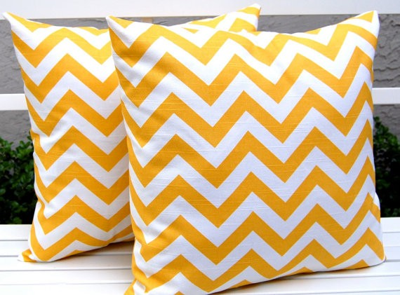 Chevron Yellow Pillows Etsy
