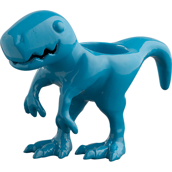 blue dinosaur candle holder
