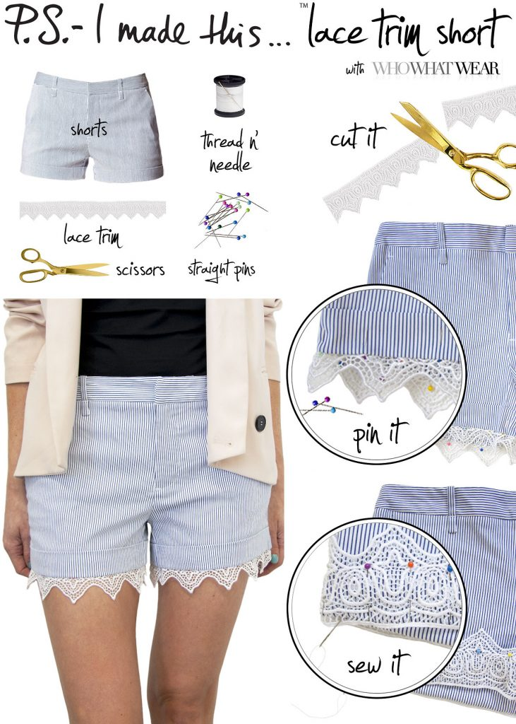 DIY Lace Trim Shorts