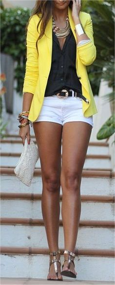 These cute outfit ideas for summer are all about the color yellow and how to wear it. Yellow is such a bright cheery color and can be tricky to incorporate into your summer outfits. From yellow accessories and handbags to shirts and blazers, these outfit ideas will give you some fantastic ways to wear this beautiful color. I love the yellow shirt with the denim shorts!!