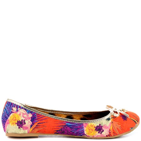 Iron Fist Floral Ballet Flat Orange
