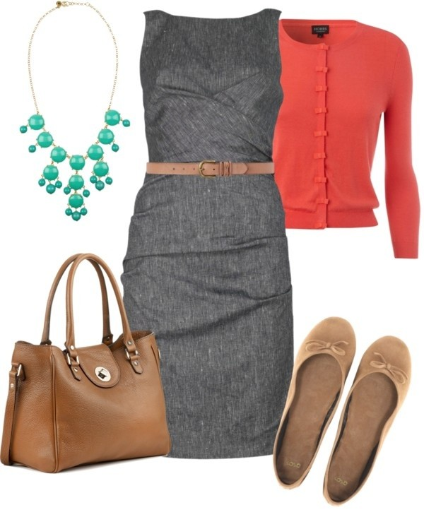 cute outfit ideas gray dress