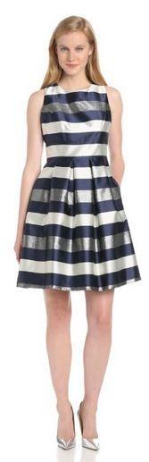 Eliza J Women's Stripe Metallic Jacquard Party Dress