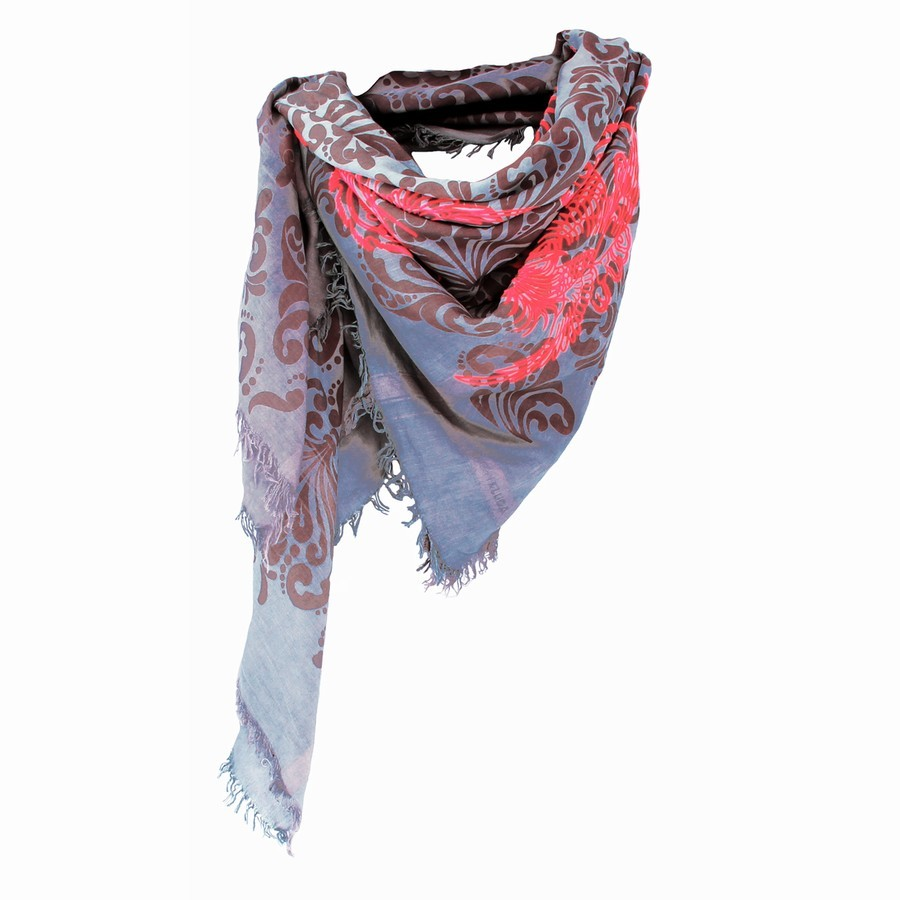Leigh and Luca New York Dragon Bird Silk Square Mouse Scarf