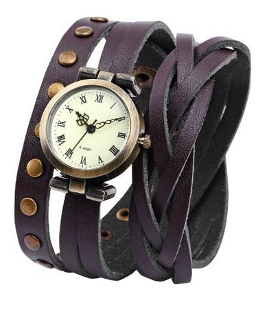 Brown leather wraparound watch