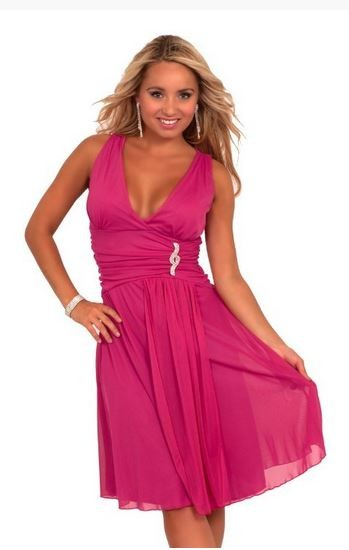 v-neck sheer pink dress