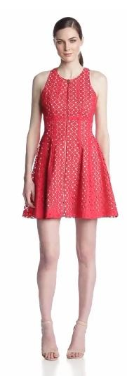 BCBGMAXAZRIA Women's Guilanna Eyelet Fit-and-Flare Dress