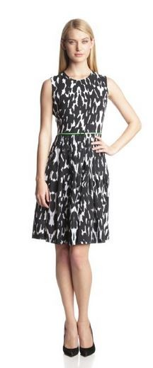 Calvin Klein Women's Belted Printed Fit-and-Flare Dress