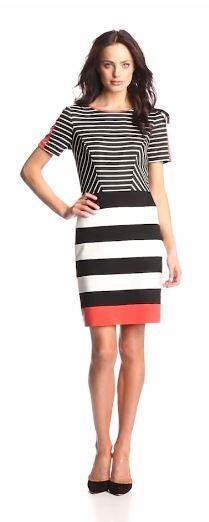 Ivy & Blu Women's Short-Sleeve Striped Sheath Dress