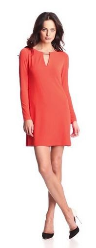 Vince Camuto Women's Long-Sleeve Shift Dress with Keyhole Neck and Hardware