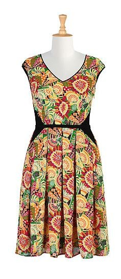 Citrus colorblock print frock