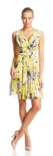 Donna Morgan Women's Sleeveless Printed Belted Dress