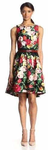 Gabby Skye Women's Sleeveless Floral Dress with Belt