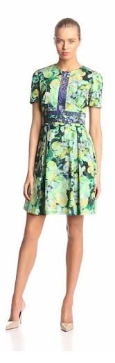Ivy & Blu Women's Short-Sleeve Floral-Print Fit-and-Flare Dress