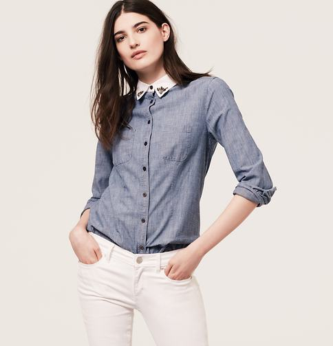 LOFT Jeweled Collared Chambray Shirt