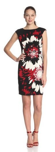 Maggy London Women's Cap-Sleeve Splish-Splash Flower-Printed Dress