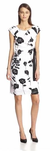 Taylor Dresses Women's Short Sleeve Flower Print Waist Tie Dress
