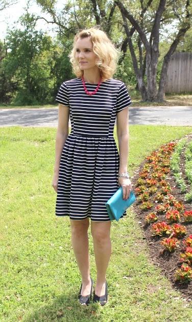 Peter Som for Kohls Black and White Striped Dress 01