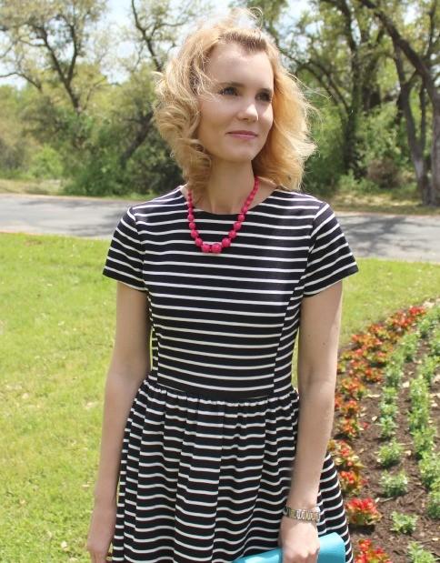 Peter Som for Kohls Black and White Striped Dress 03