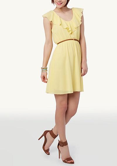 Ruffled V Neck Dress