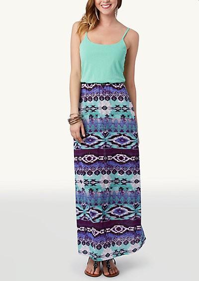 Southwest color block maxi dress