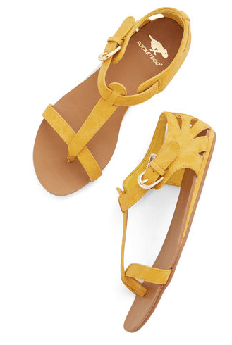 yellow sandals, modcloth, summer sandals