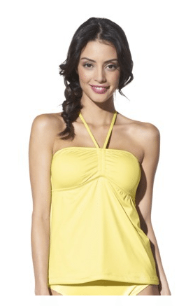 yellow tankini, yellow bathing suit