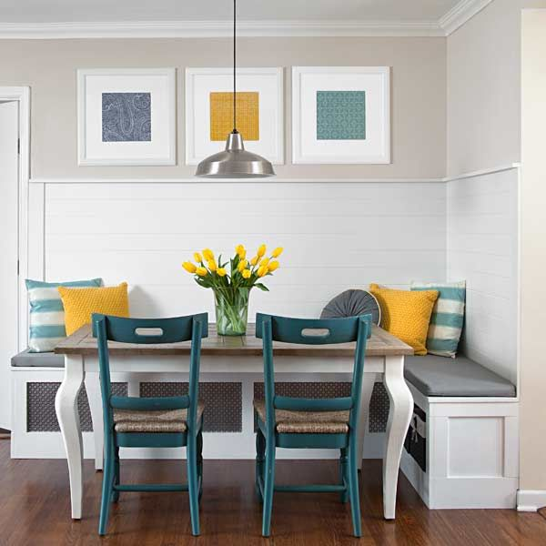 Creating the perfect breakfast nook mom fabulous - Banc de coin pour cuisine ...