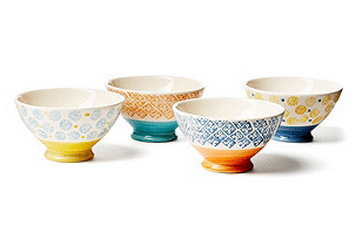 handpainted footed bowls