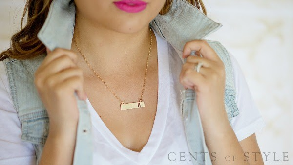 Cents of Style Monogrammed Bar Necklace