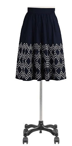 Chevron embellished poplin skirt