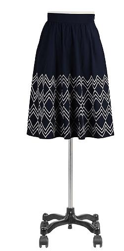 Chevron embellished poplin skirt