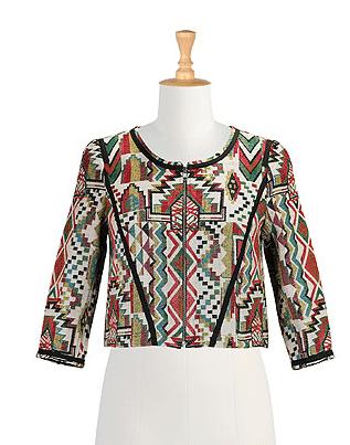 Collarless jacquard crop jacket