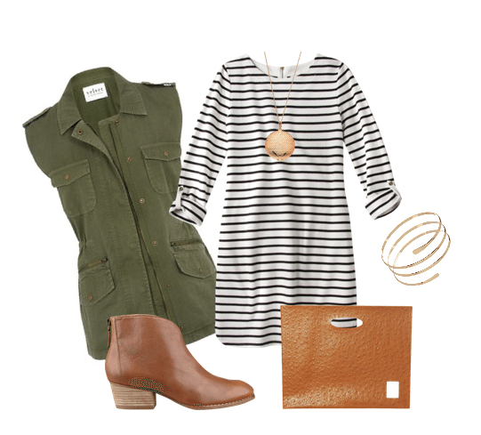 cute outfit ideas, military style vest, cute outfit ideas for fall, mom fashion, outfit ideas for moms, striped dress