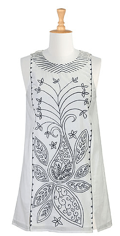 Embellished cotton voile tunic