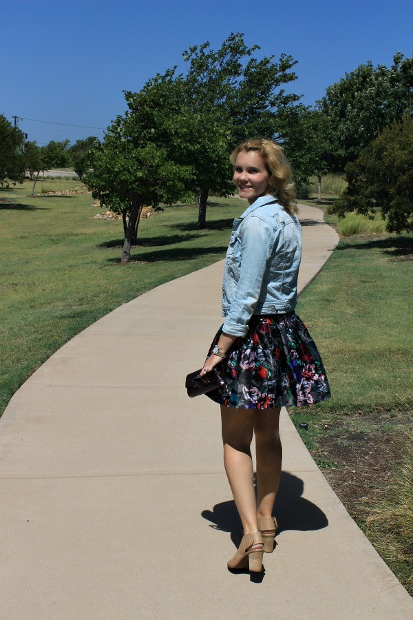 Floral skirt, fall fashion 2014, fall floral, fall outfit ideas