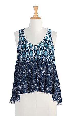 Lace trim batik print babydoll