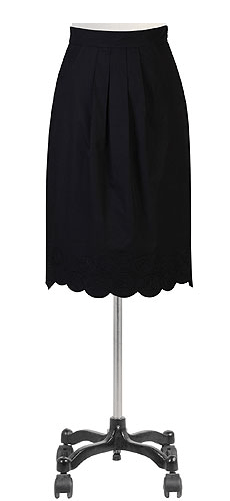 Scallop trim poplin skirt