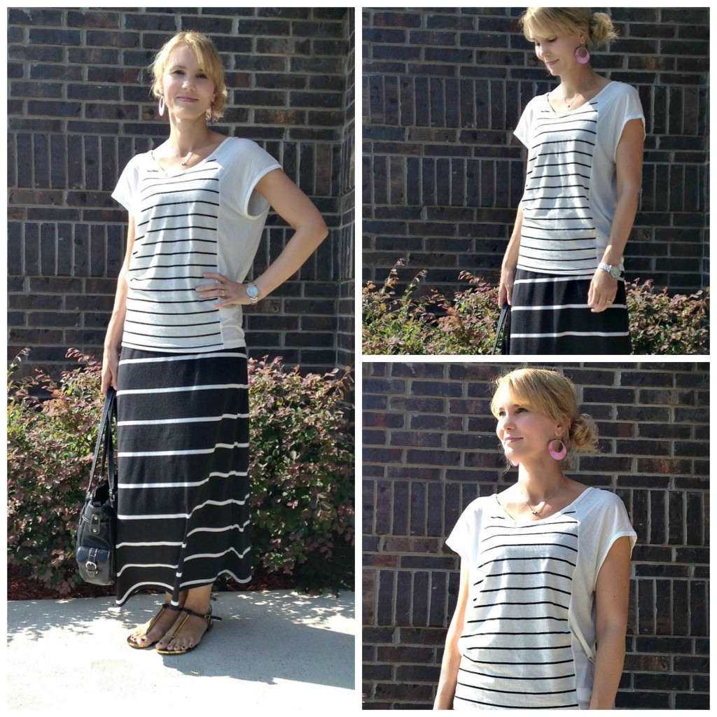 Stripes on Stripes, real-mom-style, outfit ideas for moms, striped shirt, maxi skirt