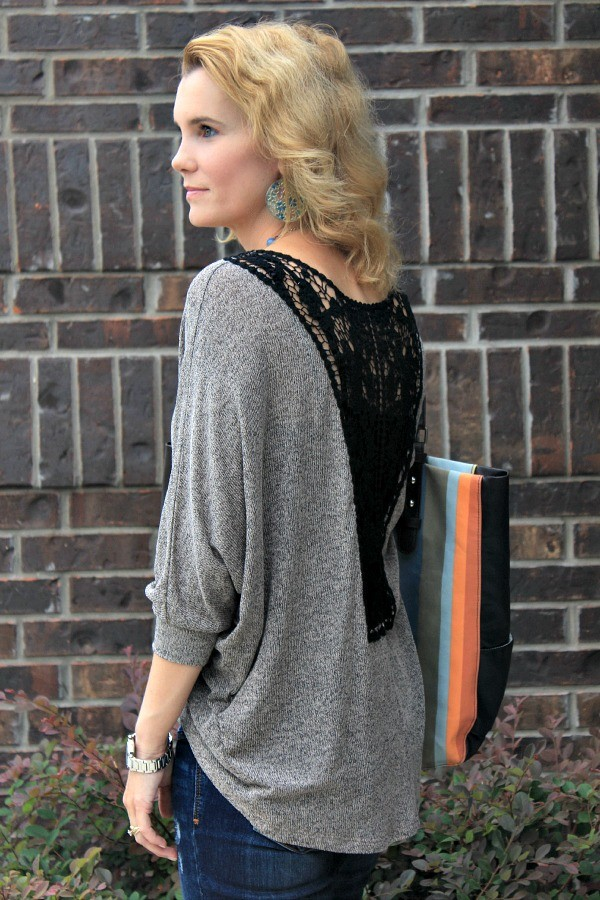 hi low crochet back sweater, fall sweater, fall transition pieces, outfit ideas for fall, fall outfit ideas, outfit ideas for moms, real mom style