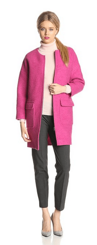 Pink Women's Coat, Pink Wool Coat, Helene Berman Coats, Women's Coats