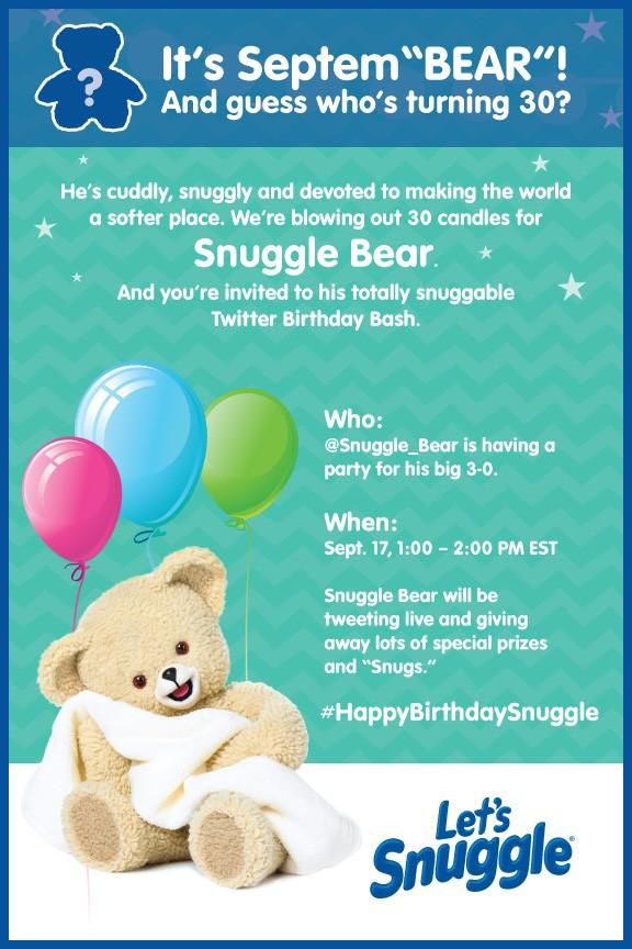Snuggle Bear Twitter Party, Snuggle Bear Birthday, Snuggle Bear 30th