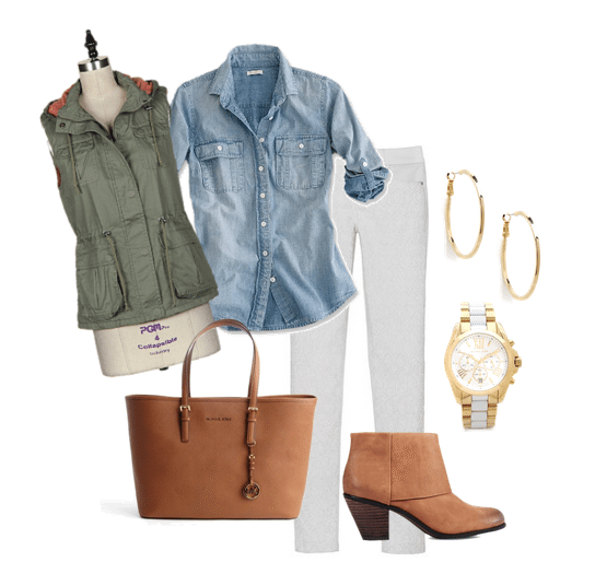 how to wear white denim in fall, white denim, olive green vest, fall outfit ideas, outfit ideas for fall, cute outfit ideas, what to wear with white denim