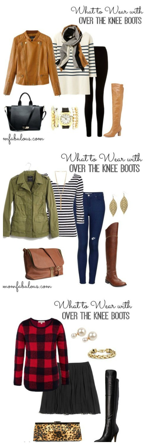 These fall outfit ideas show you what you can wear those gorgeous over the knee boots with.